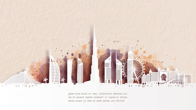 Travel poster with welcome to dubai famous landmark in paper cut style
