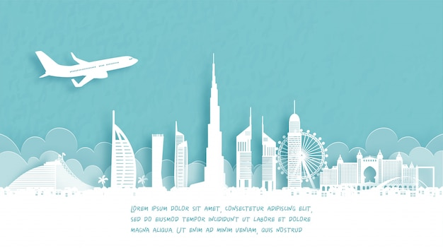 Travel poster with welcome to dubai