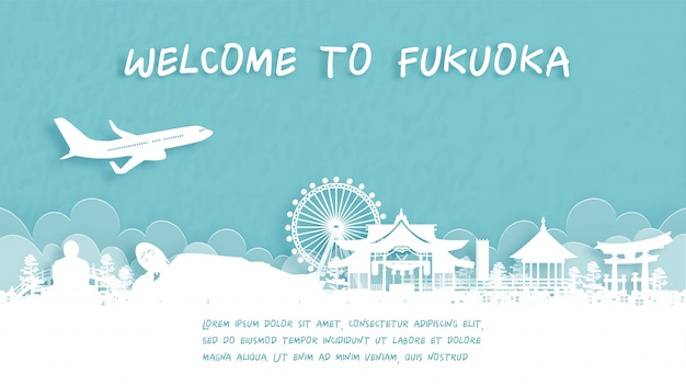 Travel poster with welcome to fukuoka, japan
