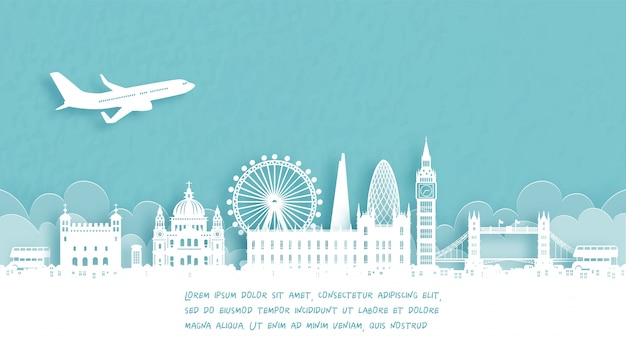 Travel poster with welcome to london, england