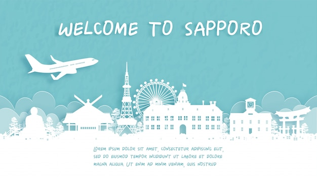 Travel poster with welcome to sapporo, japan
