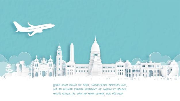 アルゼンチンの有名なランドマーク、ブエノスアイレスへようこその旅行ポスター