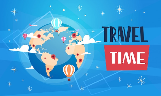 Travel poster with worlds globe on blue background retro tourism banner