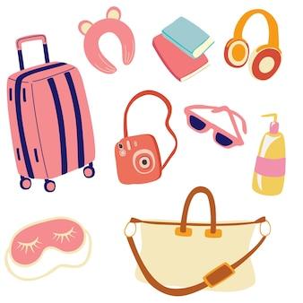 Набор для подготовки к путешествию. багаж и все необходимое для поездки и путешествий. элементы путешествия для женщин. чемодан, наушники, дорожная сумка, маска для сна, фотоаппарат, крем, книги, очки, подушка для сна.