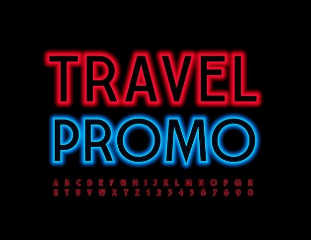 Красный светящийся шрифт travel promo набор ярких современных букв и цифр алфавита