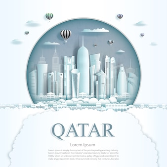 Travel qatar monument city modern building in circle background.