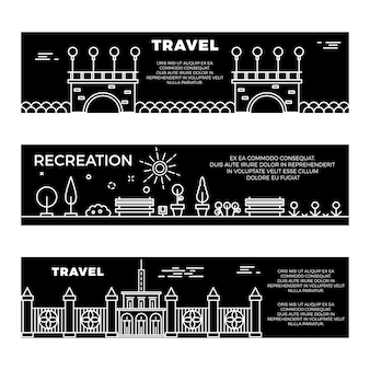 Travel and recreation flat banners template