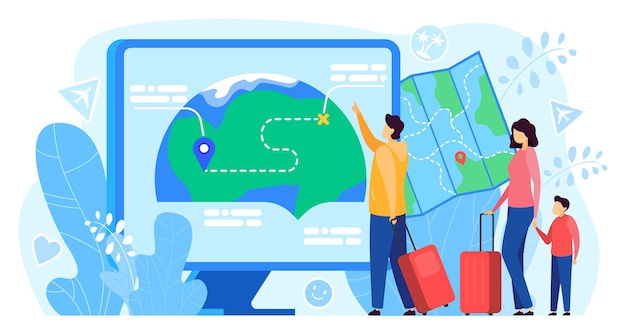 Travel route app vector illustration. cartoon flat traveler tourist family people using map application on computer screen, for pin location, navigation and routing