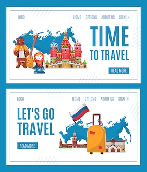 Travel to russia , cartoon famous russian landmark, moscow architecture, traditional cultural symbols interface set
