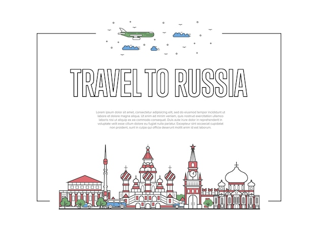 Travel to russia poster in linear style
