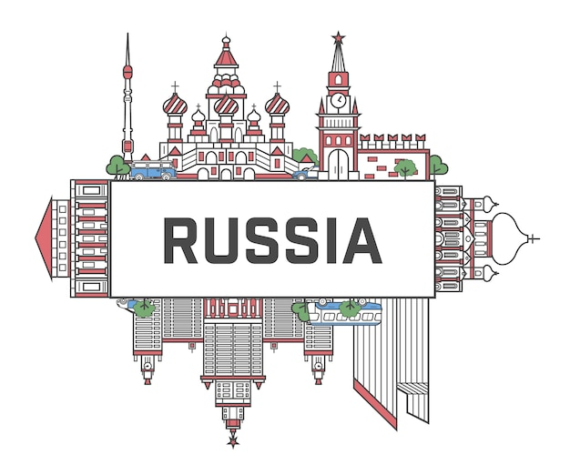Travel russia poster in linear style