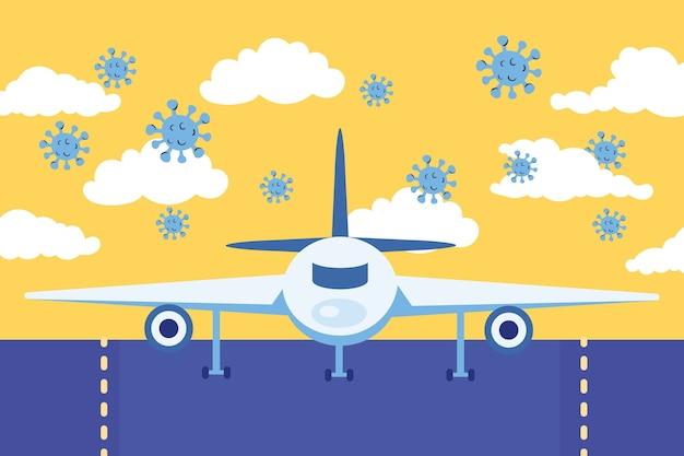Кампания по безопасности путешествий с самолетом и векторной иллюстрацией частиц covid19