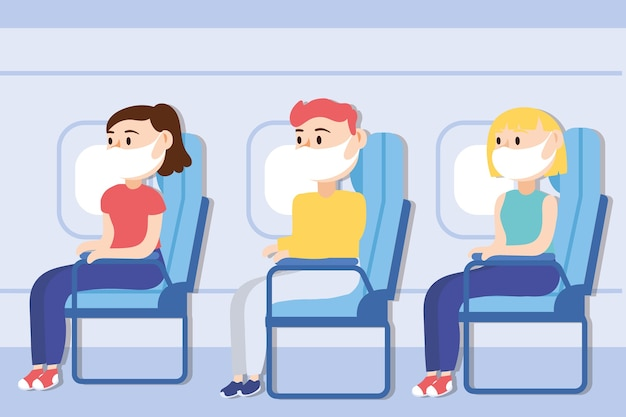 Travel safe campaign with passengers wearing medical mask in airplane chairs vector illustration design