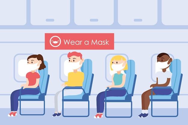 Кампания по безопасности путешествий с пассажирами в медицинской маске в креслах самолета, векторная иллюстрация