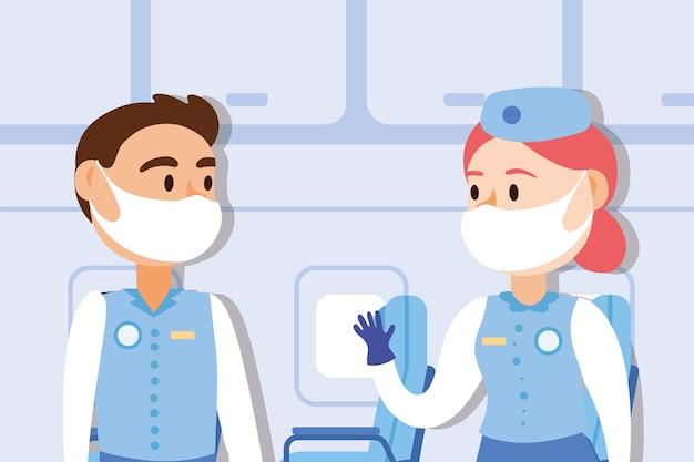 Путешествуйте безопасная кампания с парой стюардесс в медицинской маске, вектор дизайн иллюстрации