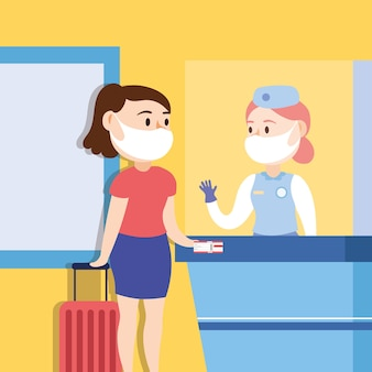 Travel safe campaign with woman traveler wearing face mask in chekin point vector illustration design