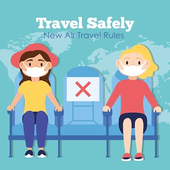 Travel safely campaign with passengers wearing medical masks in airplane chairs vector illustration design