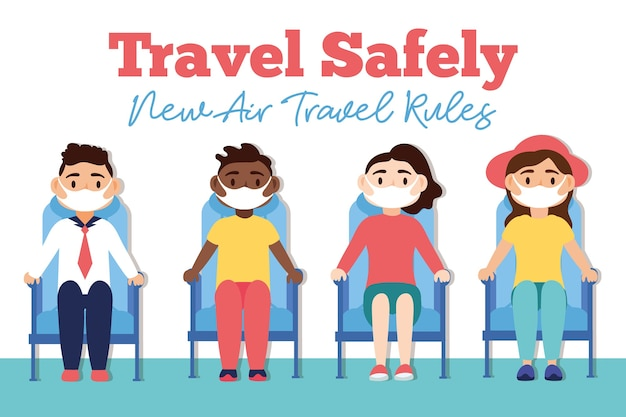 Travel safely campaign with passengers wearing medical masks in waitroom chairs vector illustration design
