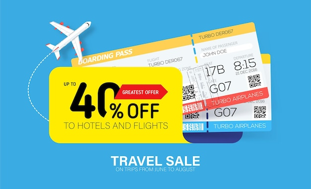 Баннер продажи путешествия с желтой биркой и билетами. горячие тарифы на внутренние и международные рейсы.