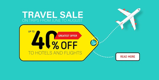 Travel sale banner with yellow tag