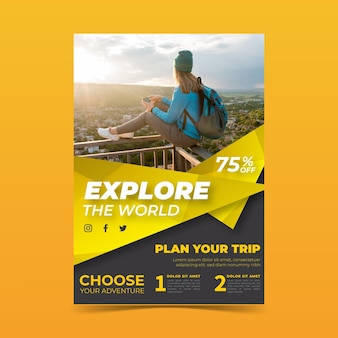 여행 판매 전단지 개념