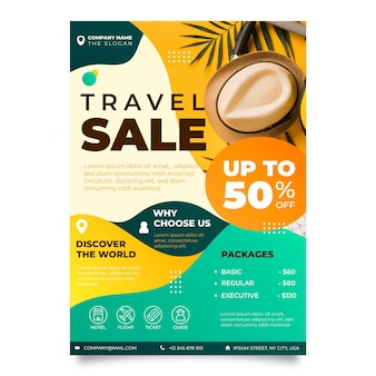 Travel sale flyer design with photo