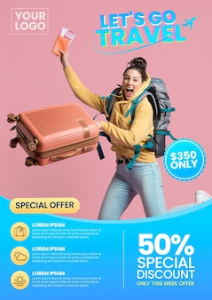 Travel sale flyer style with photo