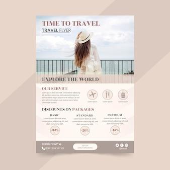 Шаблон флаера для путешествий с фото