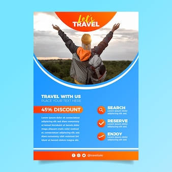Travel sale flyer template with photo