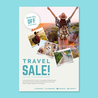Travel sale flyer template with photos