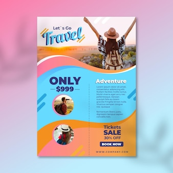 Travel sale flyer template with picture