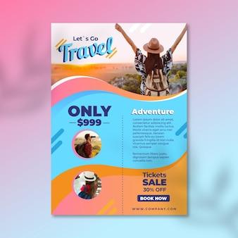 Шаблон флаера для путешествий с изображением
