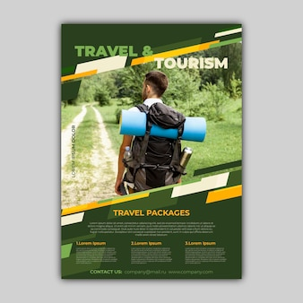 Travel sale flyer with photo template design
