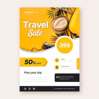 Travel sale flyer with photo