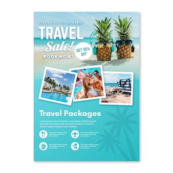 Travel sale flyer with photos