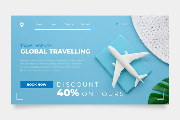 Travel sale home page with photo