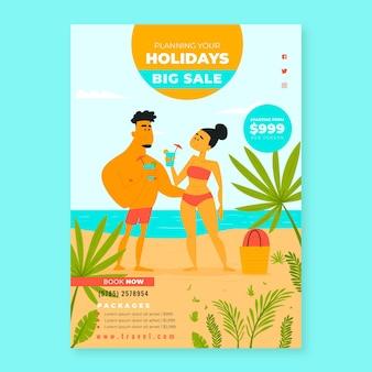 Modello di volantino illustrato di vendita di viaggio