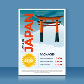 Travel sale illustrated flyer with japan
