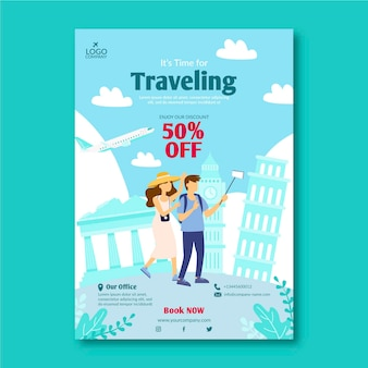 Travel sale illustrated flyer