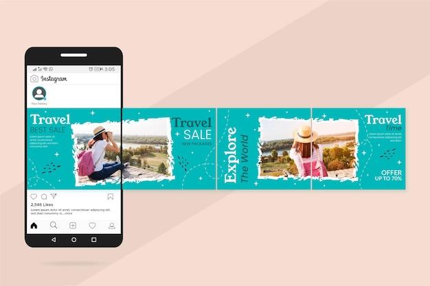 Modelli di carosello di instagram di vendita di viaggio