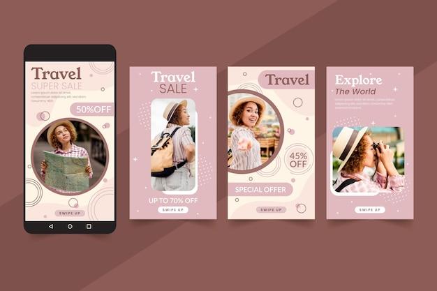 Concetto di storie di instagram di vendita di viaggio