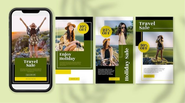 Travel sale instagram stories with photo set