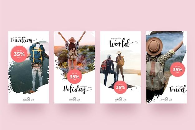 여행 판매 Instagram 이야기 프리미엄 벡터