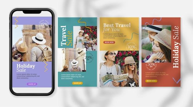 Insieme di storia di instagram di vendita di viaggio
