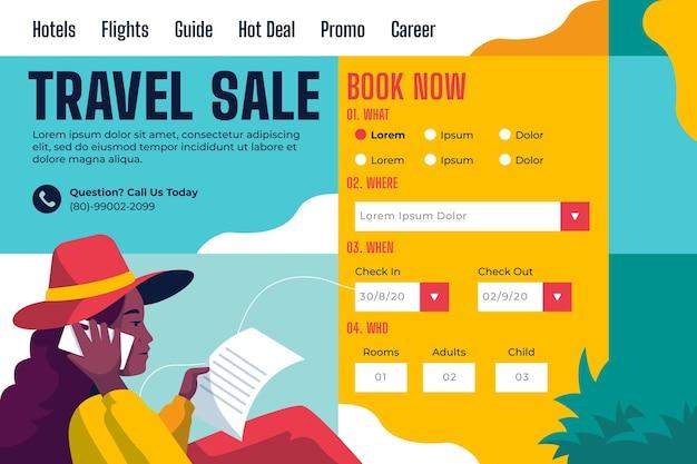 Design della pagina di destinazione della vendita di viaggi