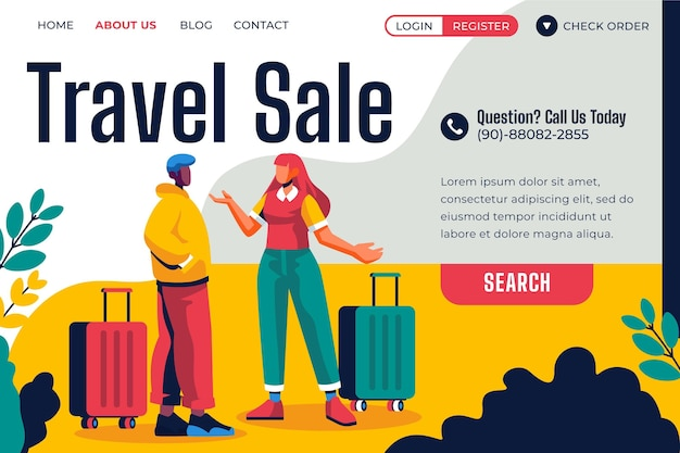 Travel sale landing page style