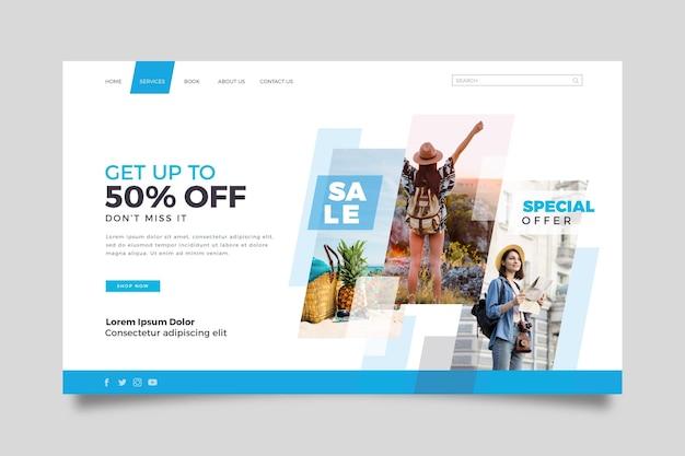 Modello della pagina di atterraggio di vendita di viaggio con foto