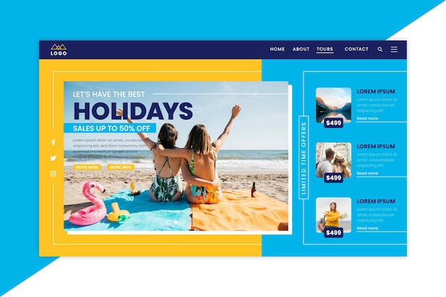 Travel sale landing page template with photo