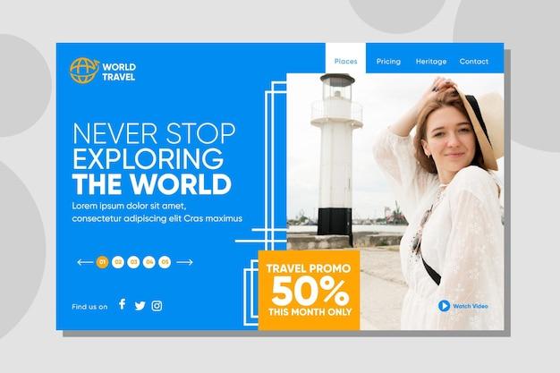 Modello di pagina di destinazione della vendita di viaggi con foto