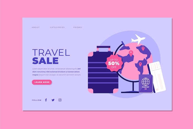 Travel sale landing page web template theme